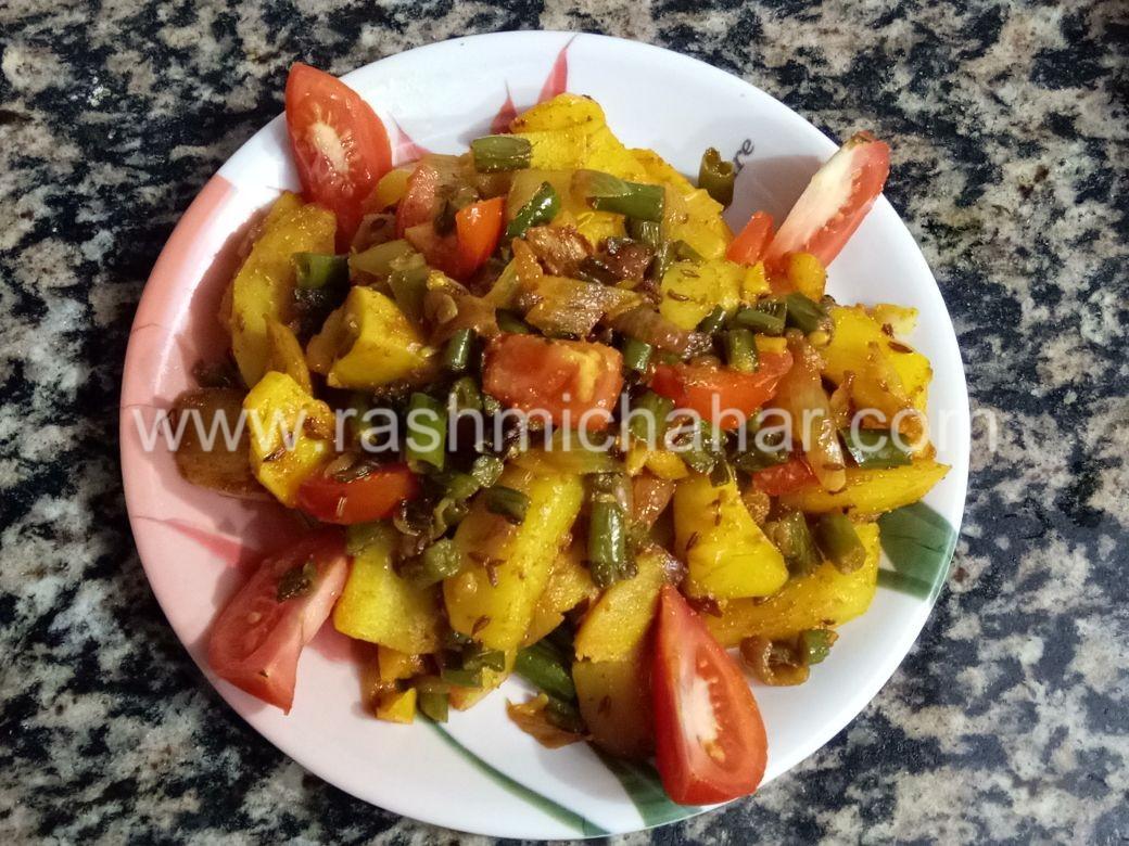 आलू बीन्स की सब्जी | Aloo Beans Sabji | Potato Beans Recipe
